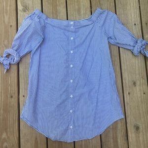 Blue/white striped off the shoulder dress